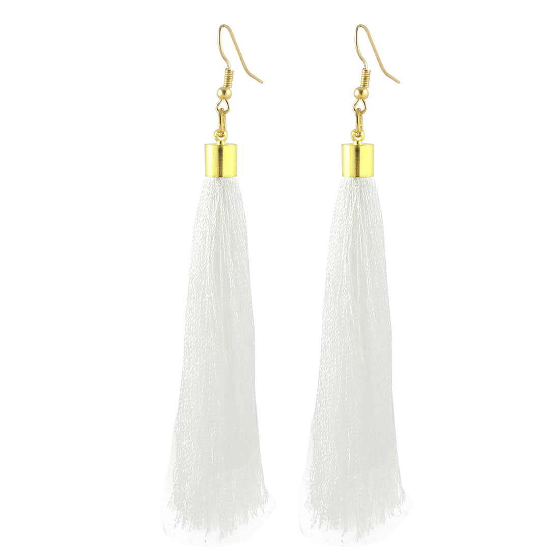 Spring Adornment Fish Hook Long Tassels Drop Dangle Earrings Eardrop Pair White