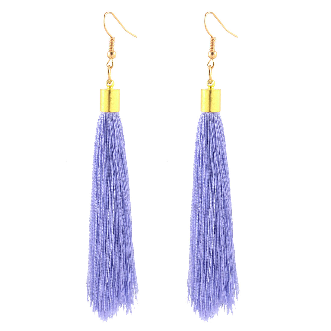 Mini Bead Adorn Fish Hook Decorative Tassel Dangle Earrings Pair Purple