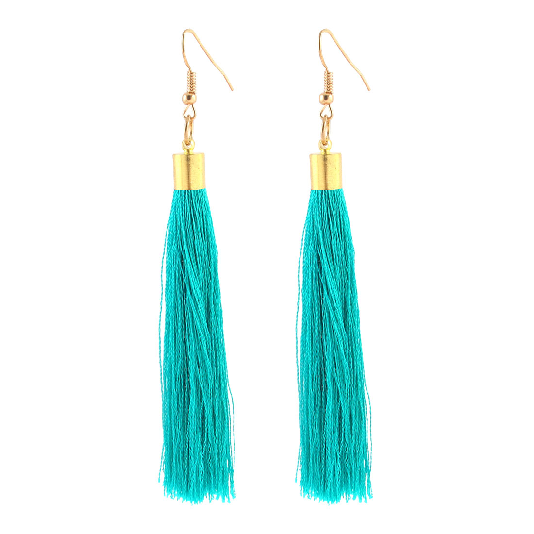 Fish Hook Long Tassels Fringed Drop Earrings Eardrop Pair Green