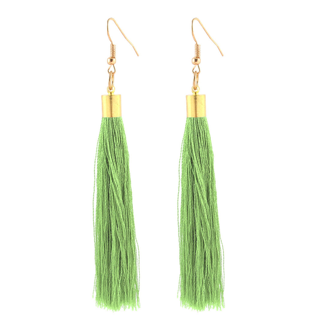Fish Hook Dangle Nylon Tassel Earrings Ears Decoration Pair Green
