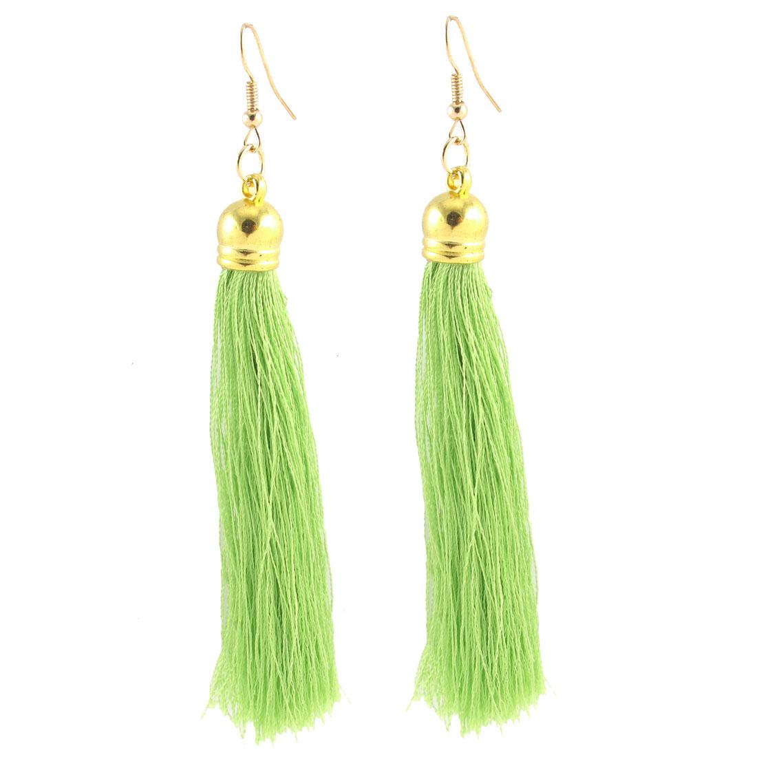 Lady Long Tassel Fringe Boho Style Dangling Fish Hook Earrings Eardrop Pair Green