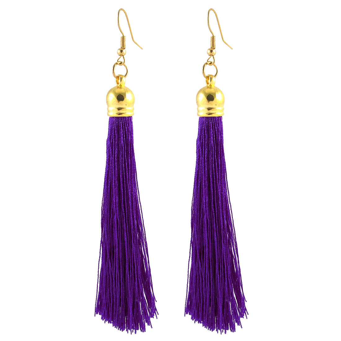 Long Tassel Fringe Boho Style Fish Hook Earrings Eardrop Ear Decor Pair Puple