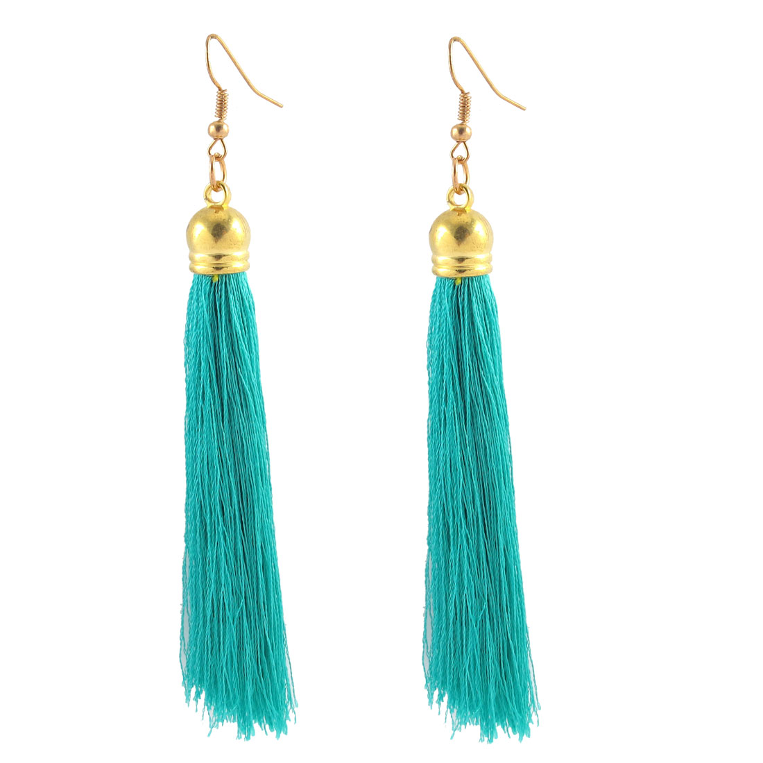 Woman Long Tassel Fringe Boho Style Hanging Fish Hook Earrings Dangle Pair Teal Blue