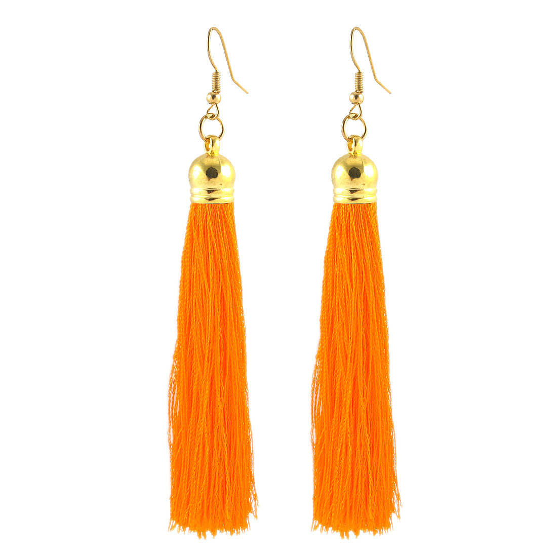Nylon Tassel Fringe Boho Style Dangling Hook Earrings Eardrop Pair Orange