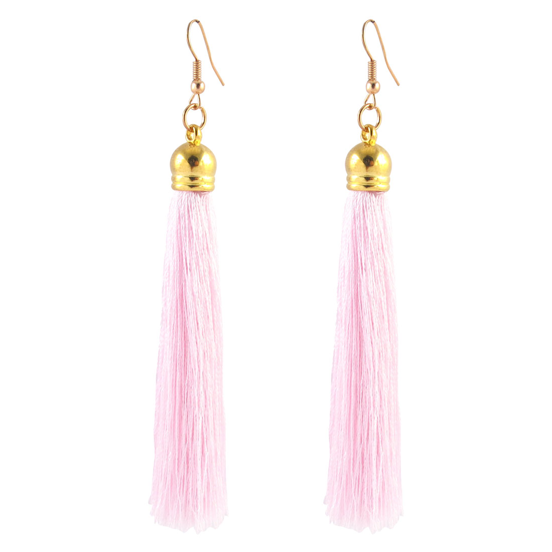 Lady Boho Style Tassel Charm Bead Detail Fish Hook Earrings Eardrop Pair Pink