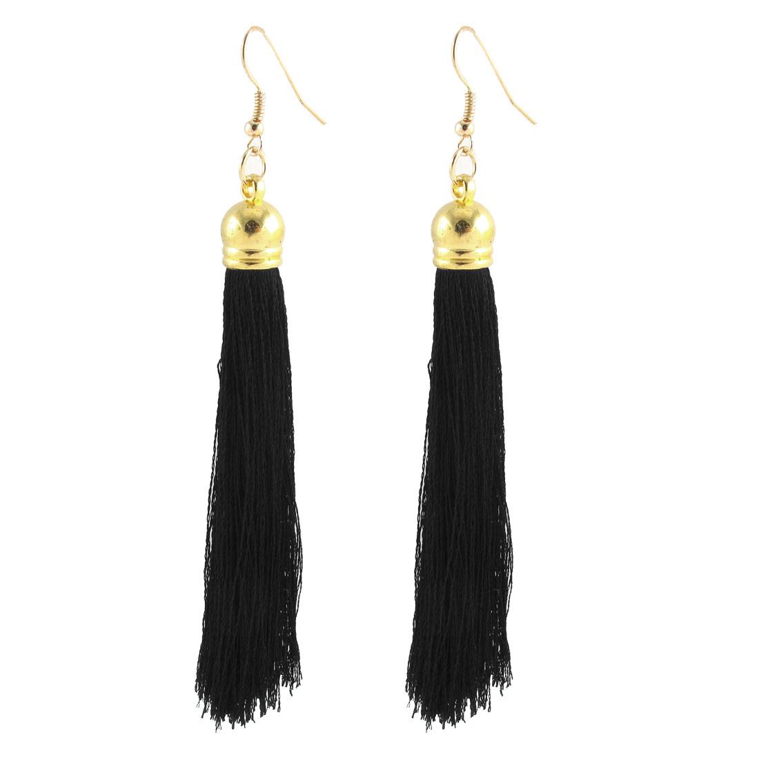 Boho Style Tassel Drop Hanging Hook Earrings Fishhook Dangle Ear Jewelry Pair Black
