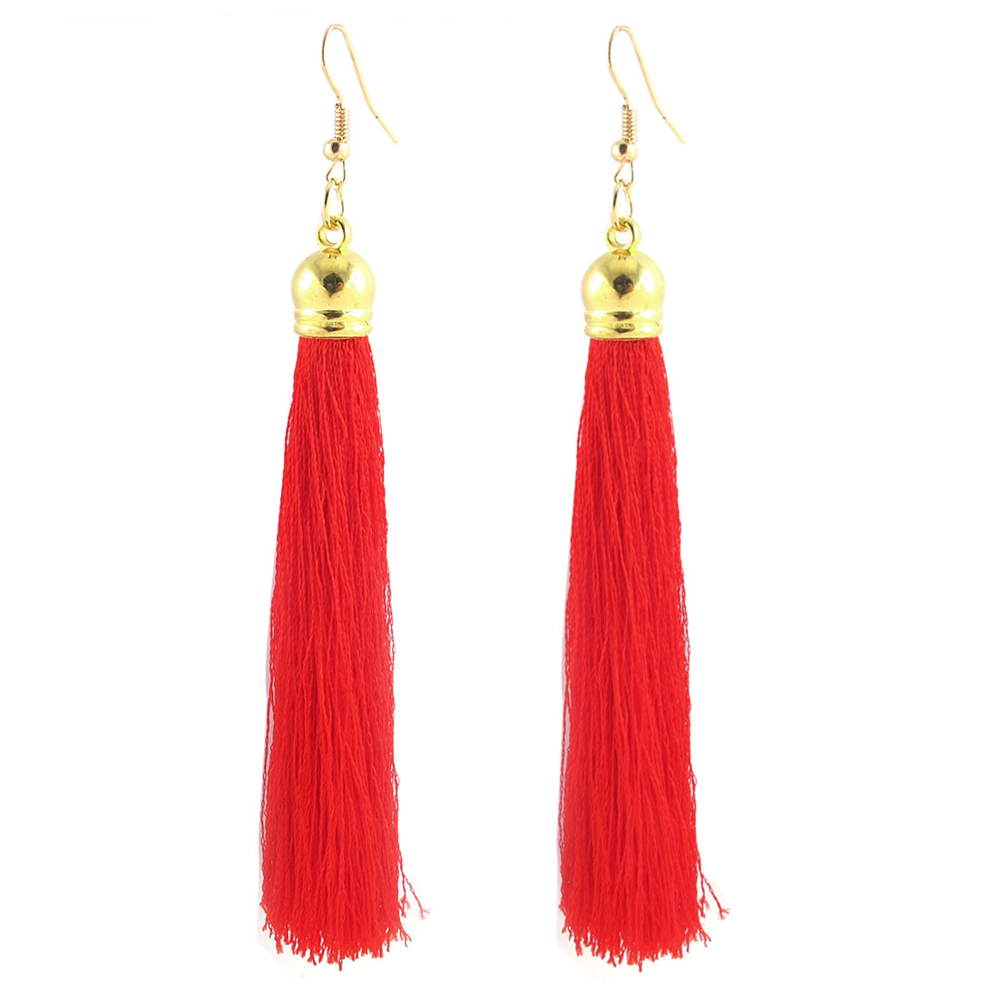 Boho Style Tassel Dangling Bead Detail Hook Earrings Eardrop Findings Pair Red