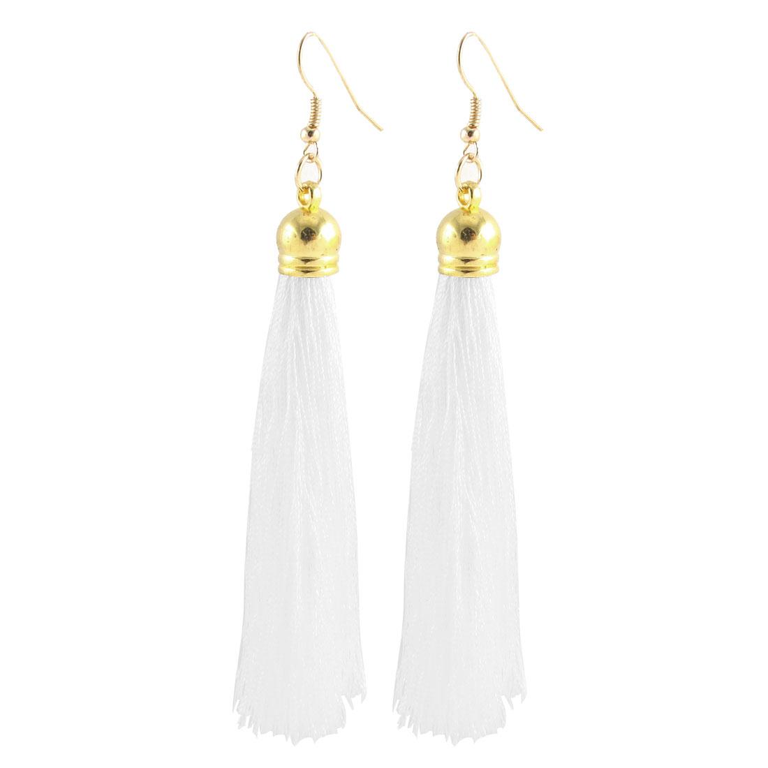 Woman Boho Style Tassel Pendant Dangling Fish Hook Earrings Eardrop Pair White