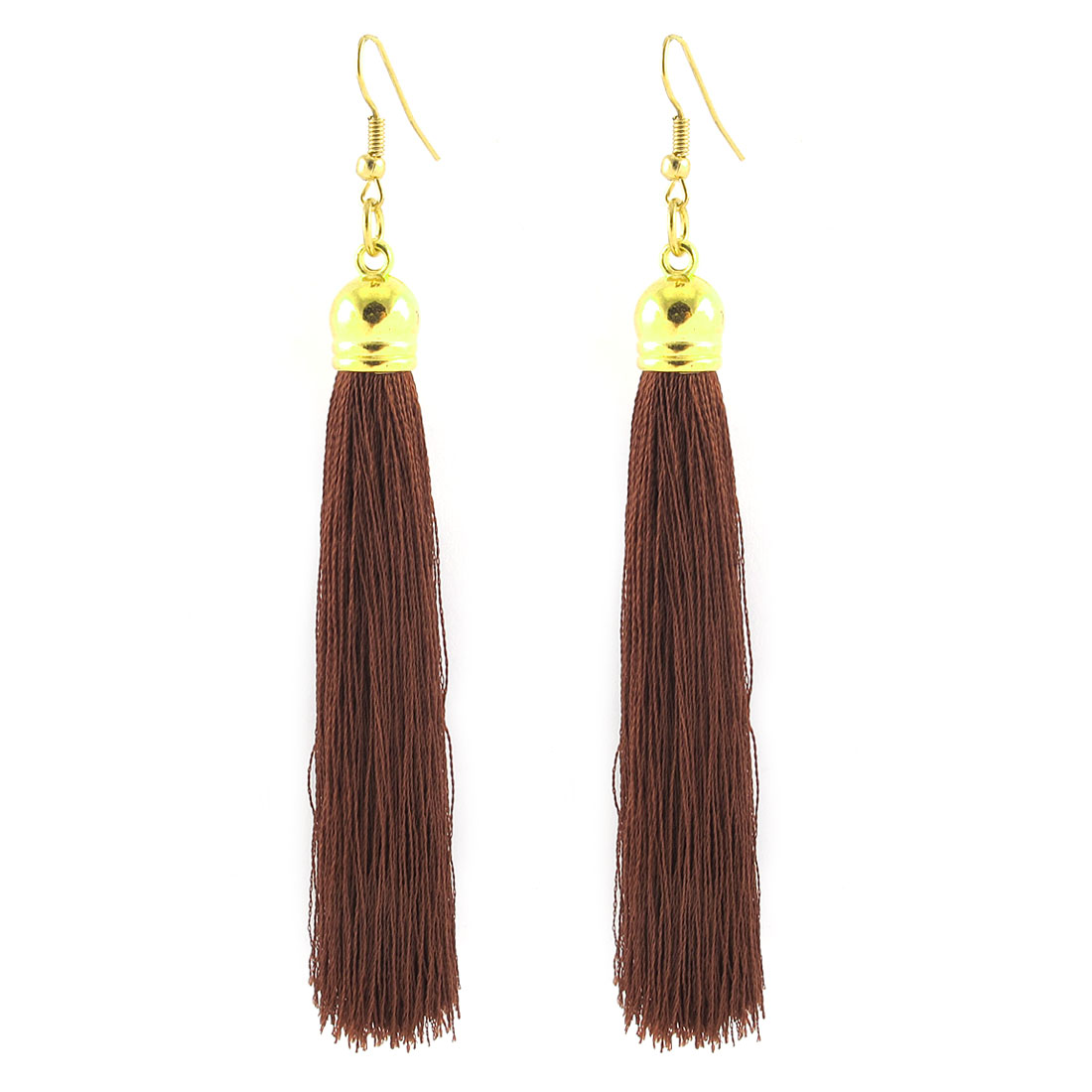 Lady Long Tassel Fringe Boho Style Hook Earrings Eardrop Jewelry Pair Brown