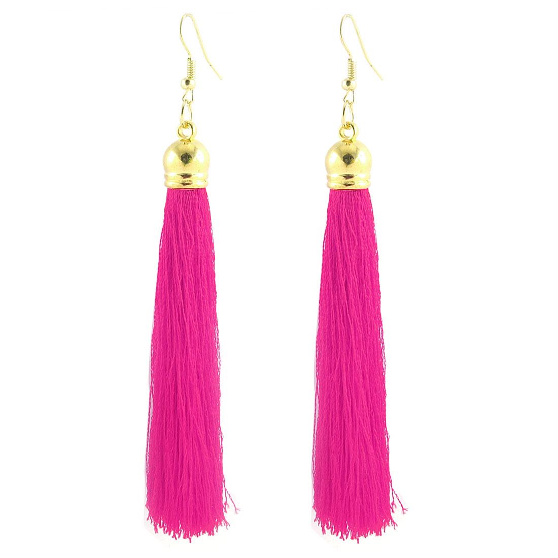 Lady Women Nylon Tassel Fringe Charm Bead Decor Hook Earrings Eardrop Fushcia Pair