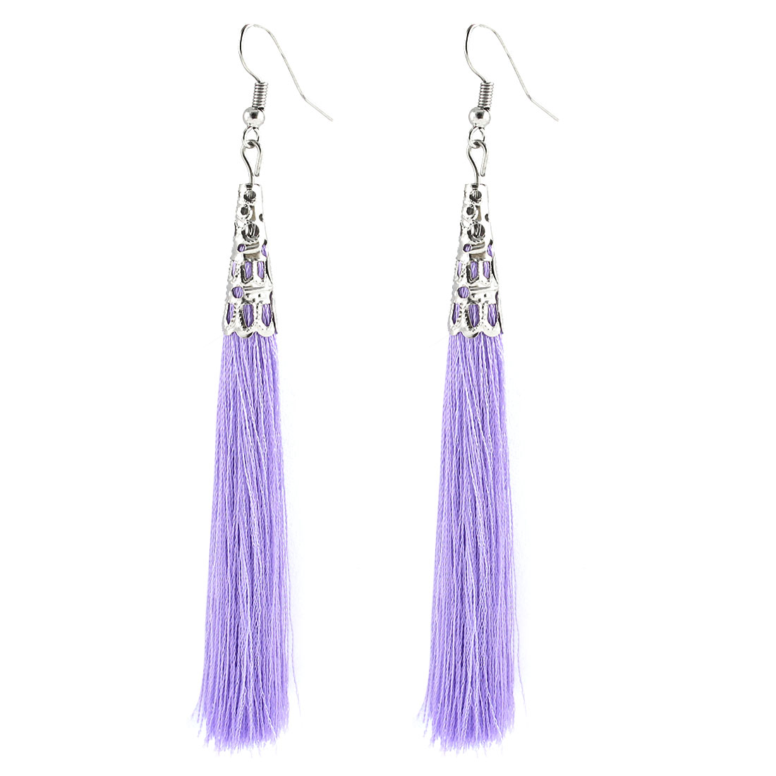 Fish Hook Hollow Out Bead Cap Cone Accent Tassel Earrings Pair Purple