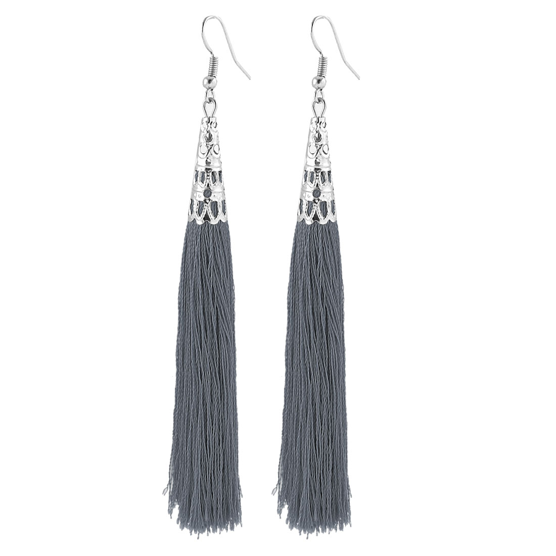 Fish Hook Hollow Bead End Cap Cone Adorn Dangle Tassel Earrings Pair Gray
