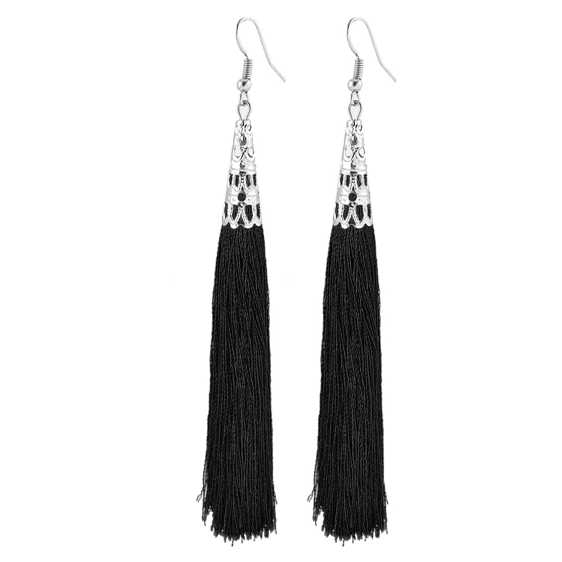 Hollow Bead Cap Cone Adornment Fish Hook Dangle Tassel Earrings Pair Black
