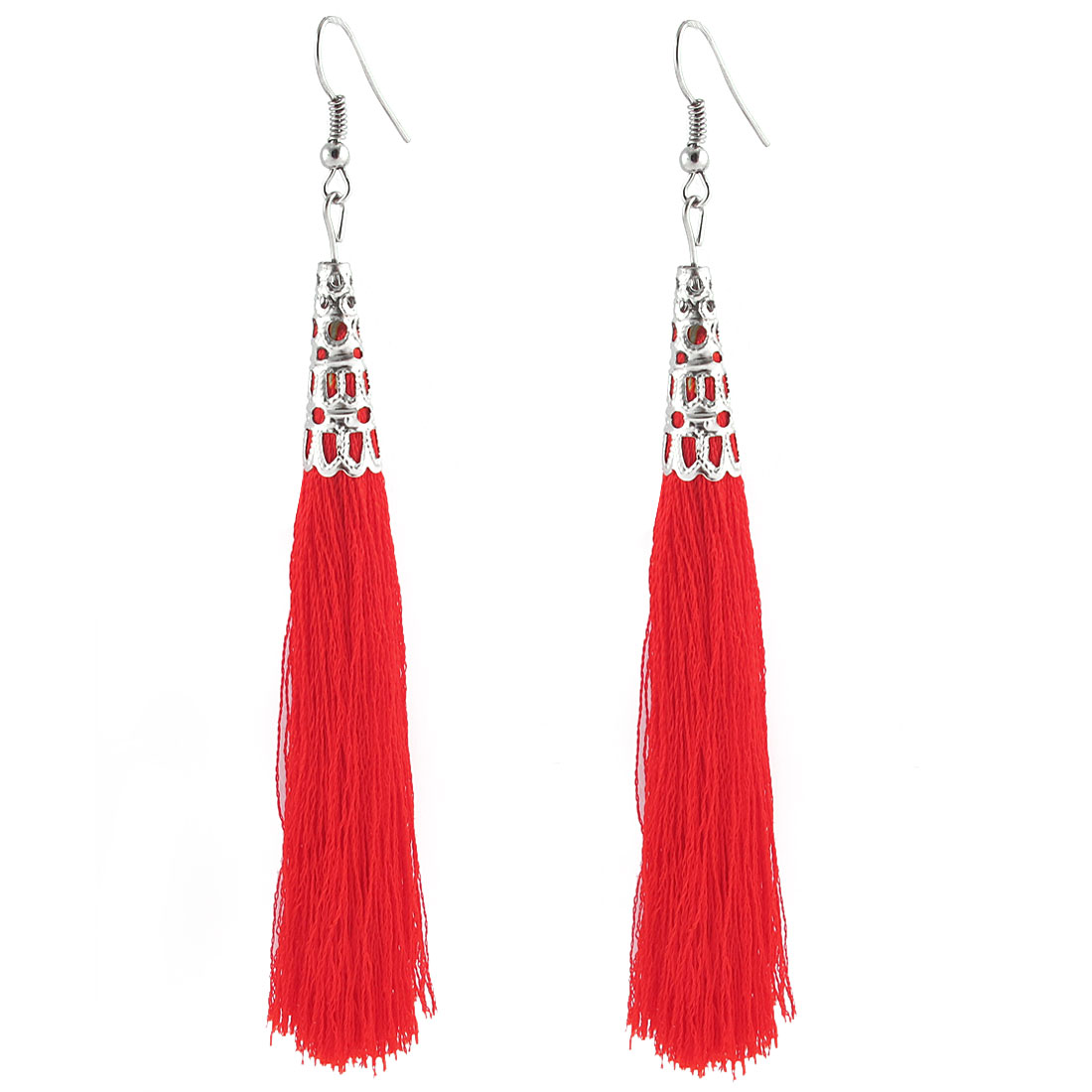 Metal Fish Hook Long Hollow Bead Caps Cone Adorn Tassel Earrings Pair Red