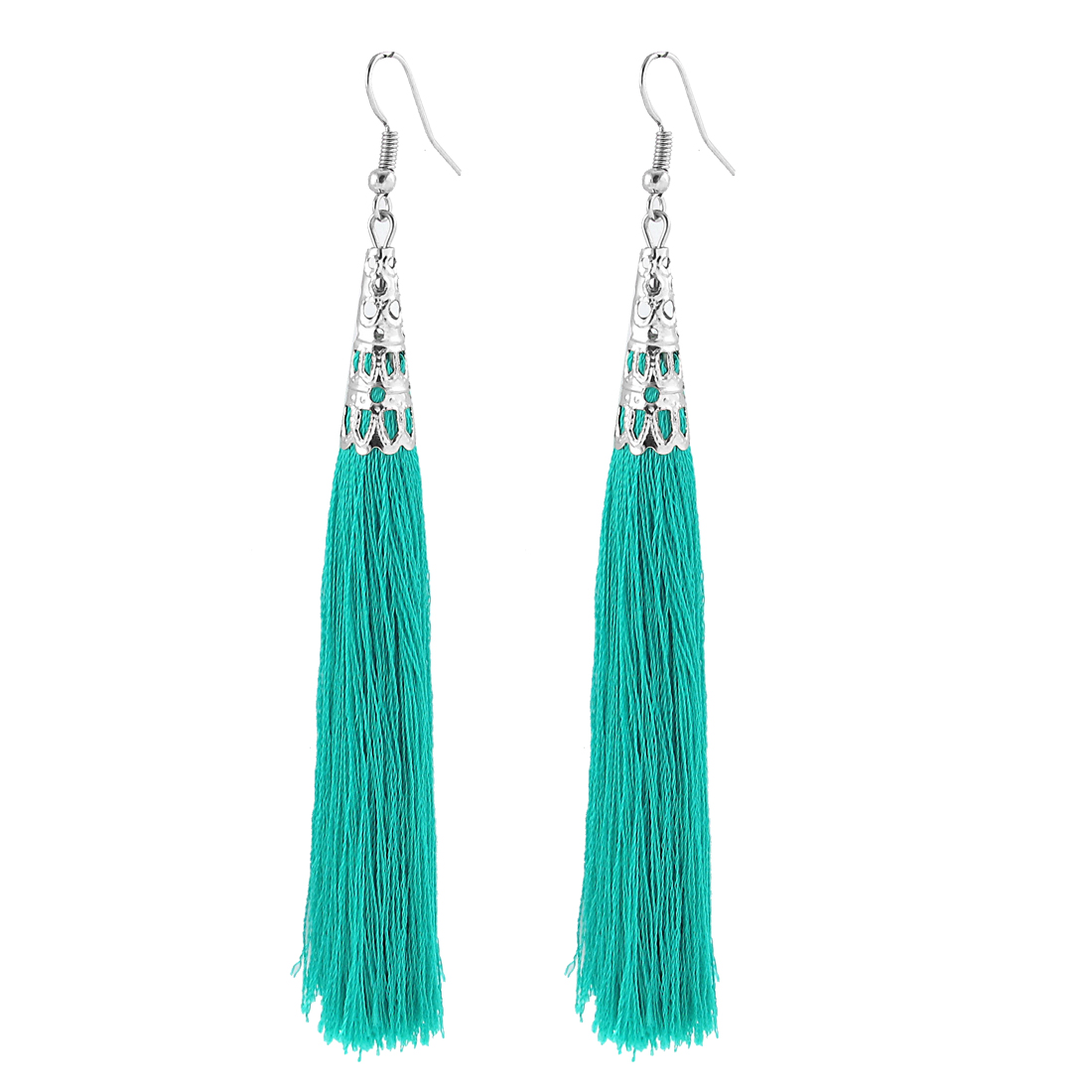Green Silver Tone Hollow Bead Cone Adorn Fish Hook Dangle Tassel Earrings Pair