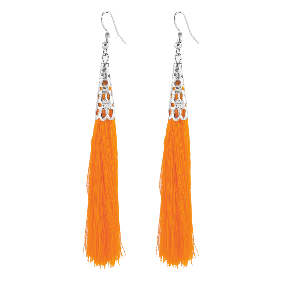 Hollow Bead Cap Cone Accent Fish Hook Hanging Tassel Earrings Dangle Pair Orange