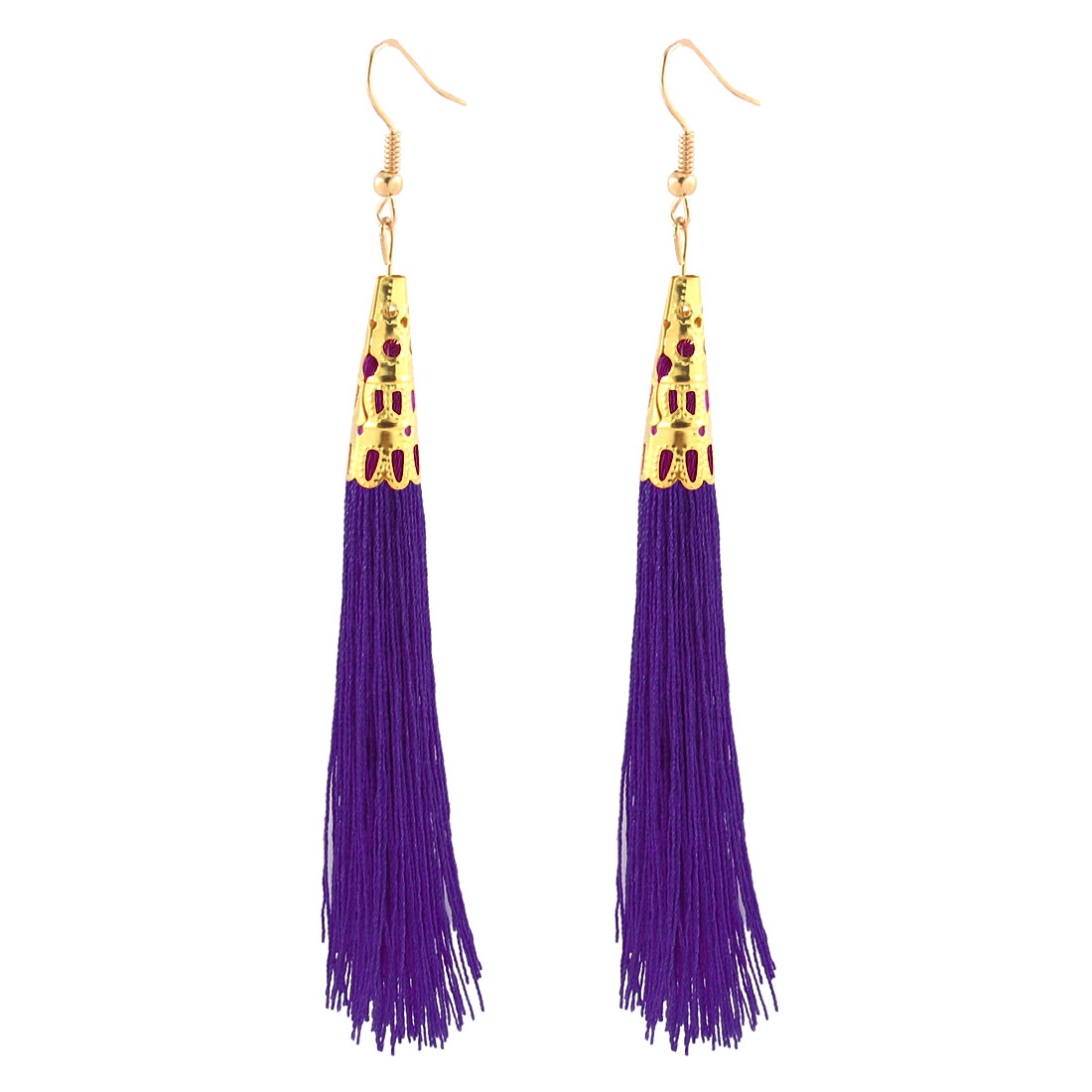 Lady Long Tassel Dangle Hook Earrings Charm Hanging Ornament Pair Purple