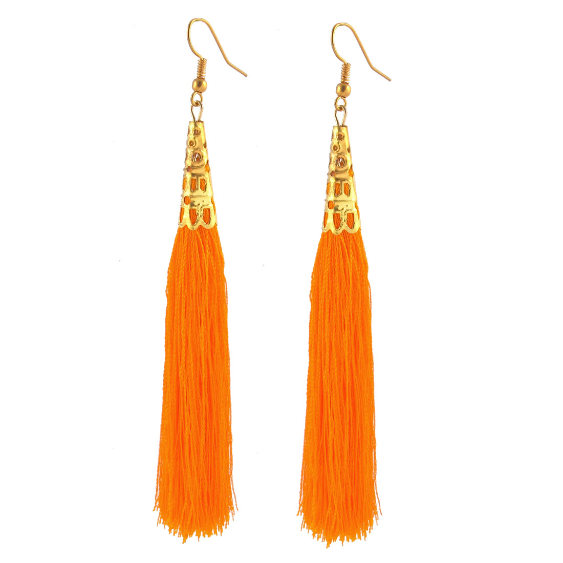 Woman Long Tassel Dangle Hook Earrings Charm Hanging Decoration Pair Orange
