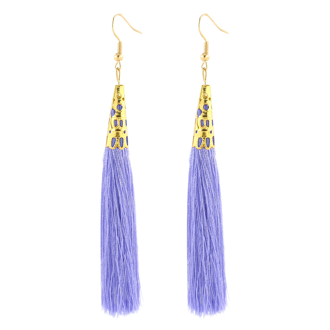 Lady Long Tassel Dangle Hook Earrings Charm Hanging Ornament Pair Light Purple