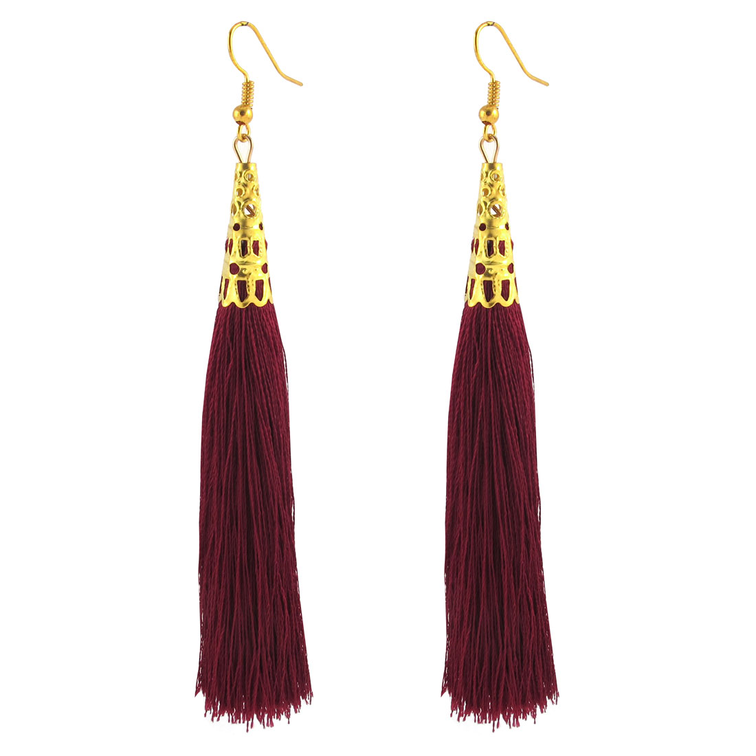 Woman Long Tassel Dangle Fish Hook Earrings Ear Charm Decor Pair Burgundy