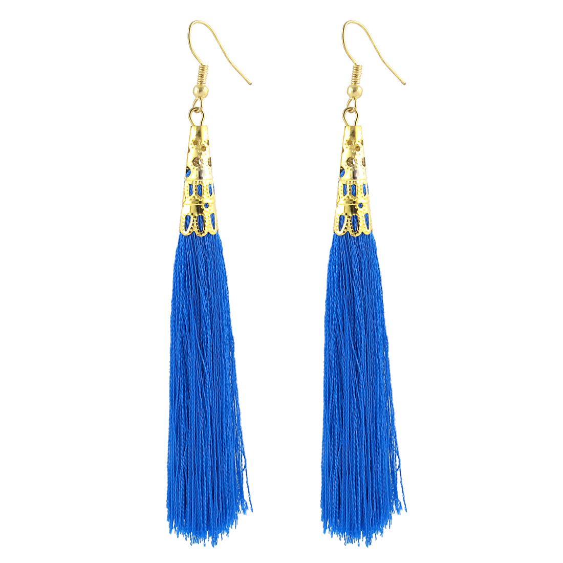 Woman Long Tassel Dangle Fish Hook Earrings Ear Charm Decor Pair Blue
