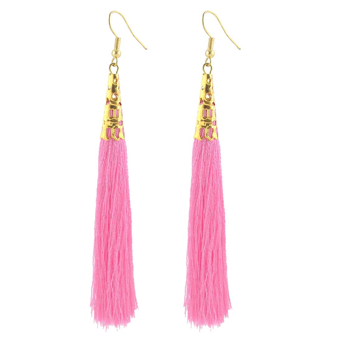 Woman Long Tassel Dangle Fish Hook Earrings Ear Charm Decor Pair Pink