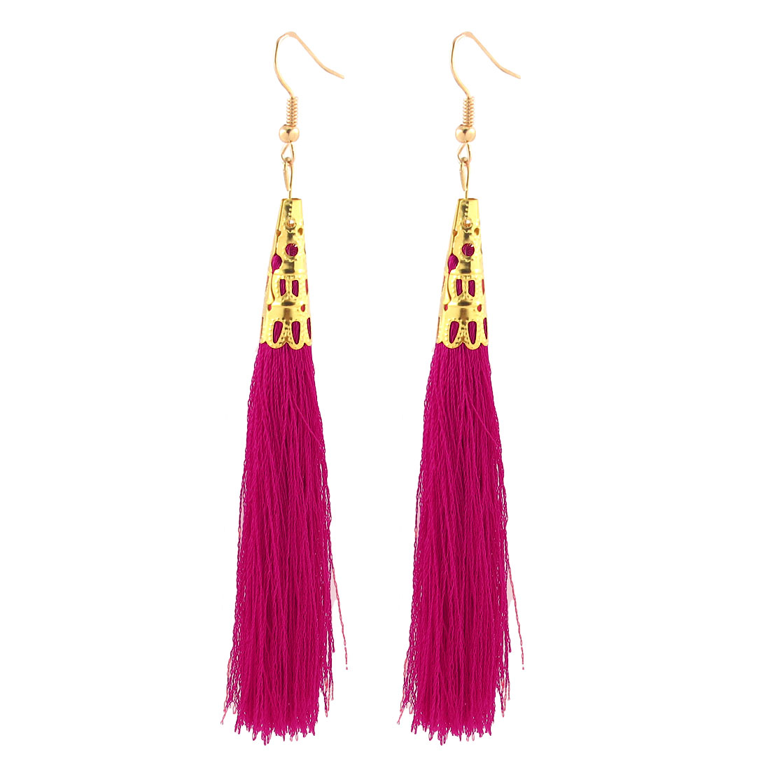 Lady Long Tassel Dangle Metal Hook Earrings Charm Hanging Decoration Pair Fushcia