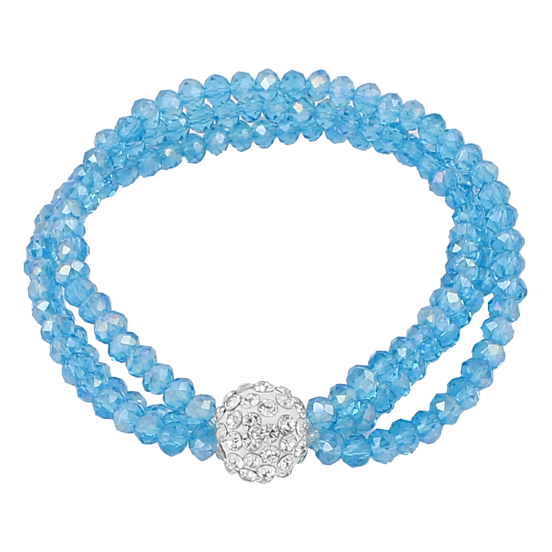 Lady Jewelry 12mm Faux Crystal Ball Beaded Stretch Bangle Bracelet Teal