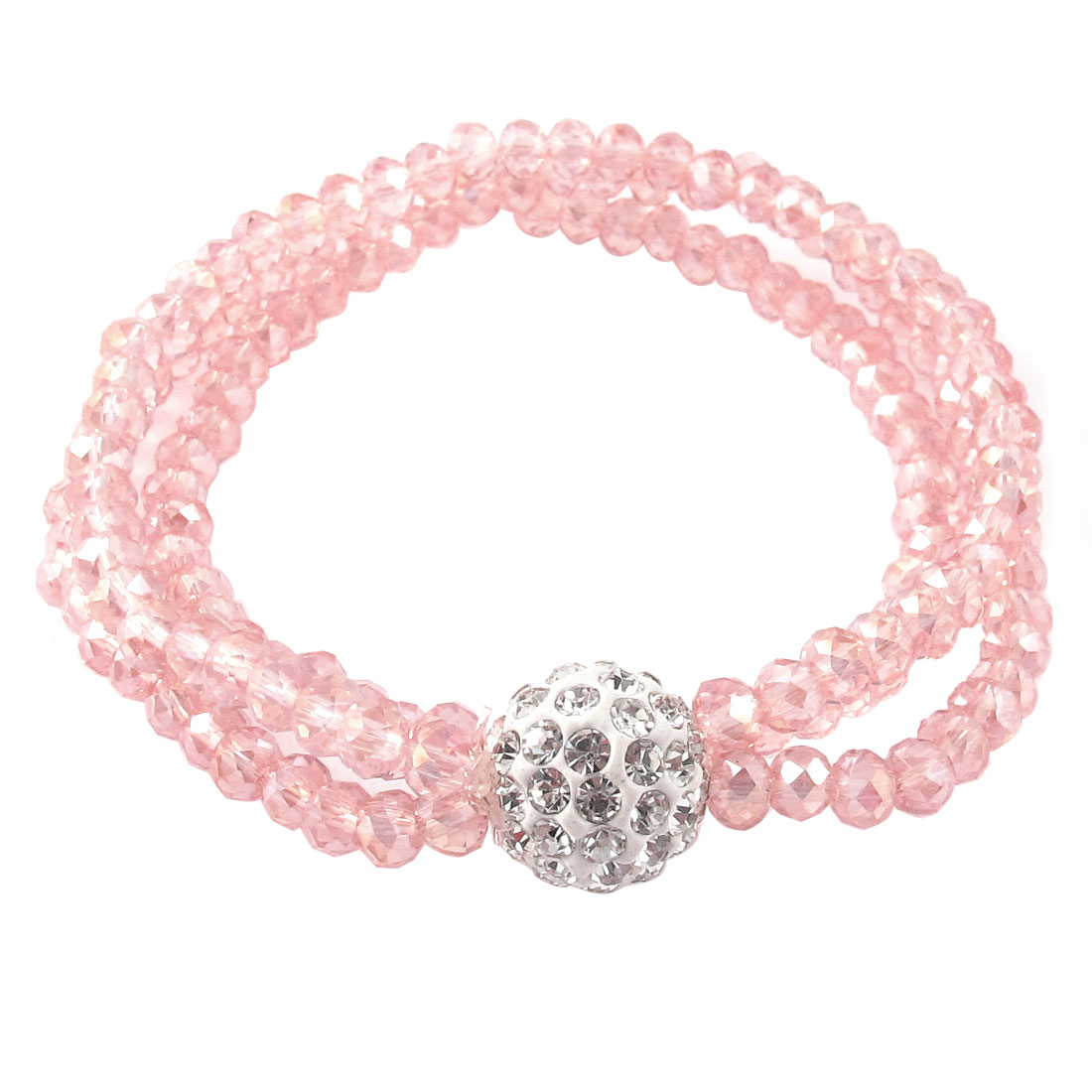 Faceted Bead Ornament 3 Layers Stretchy Wrist Bracelet Pink