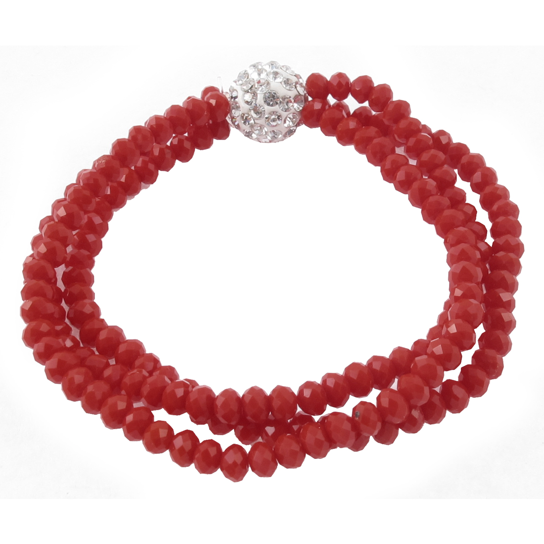 Rhinstone Inlaid Round Bead 3 Layers Elastic Wrist Bracelet Red