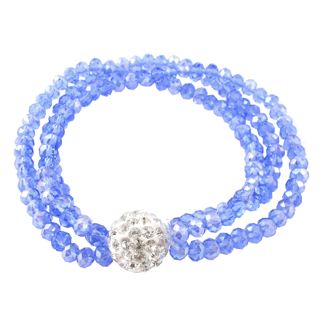 Rhinestones Inlaid Pendant Layered Faceted Bead Decor Stretchy Wrist Bracelet Blue
