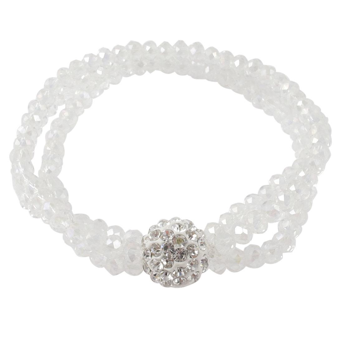 Rhinestones Inlaid Pendant Faceted Bead Decor Elastic Wrist Bracelet Bangle White