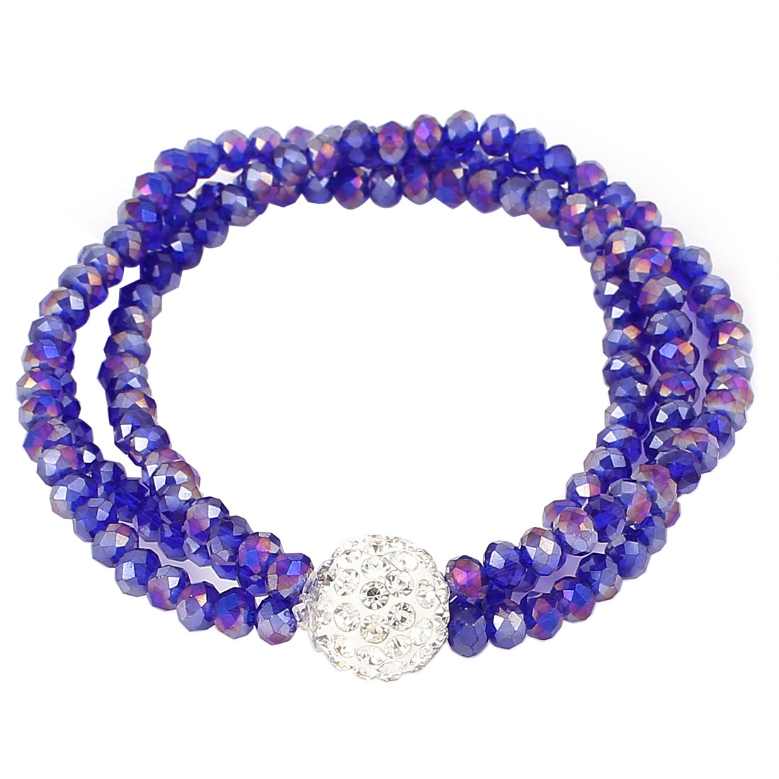 Lady Jewelry 12mm Faux Crystal Ball Beaded Stretch Bangle Bracelet Blue