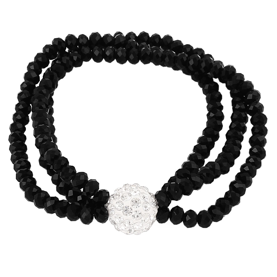 Lady Jewelry 12mm Faux Crystal Ball Beaded Stretch Bangle Bracelet Black