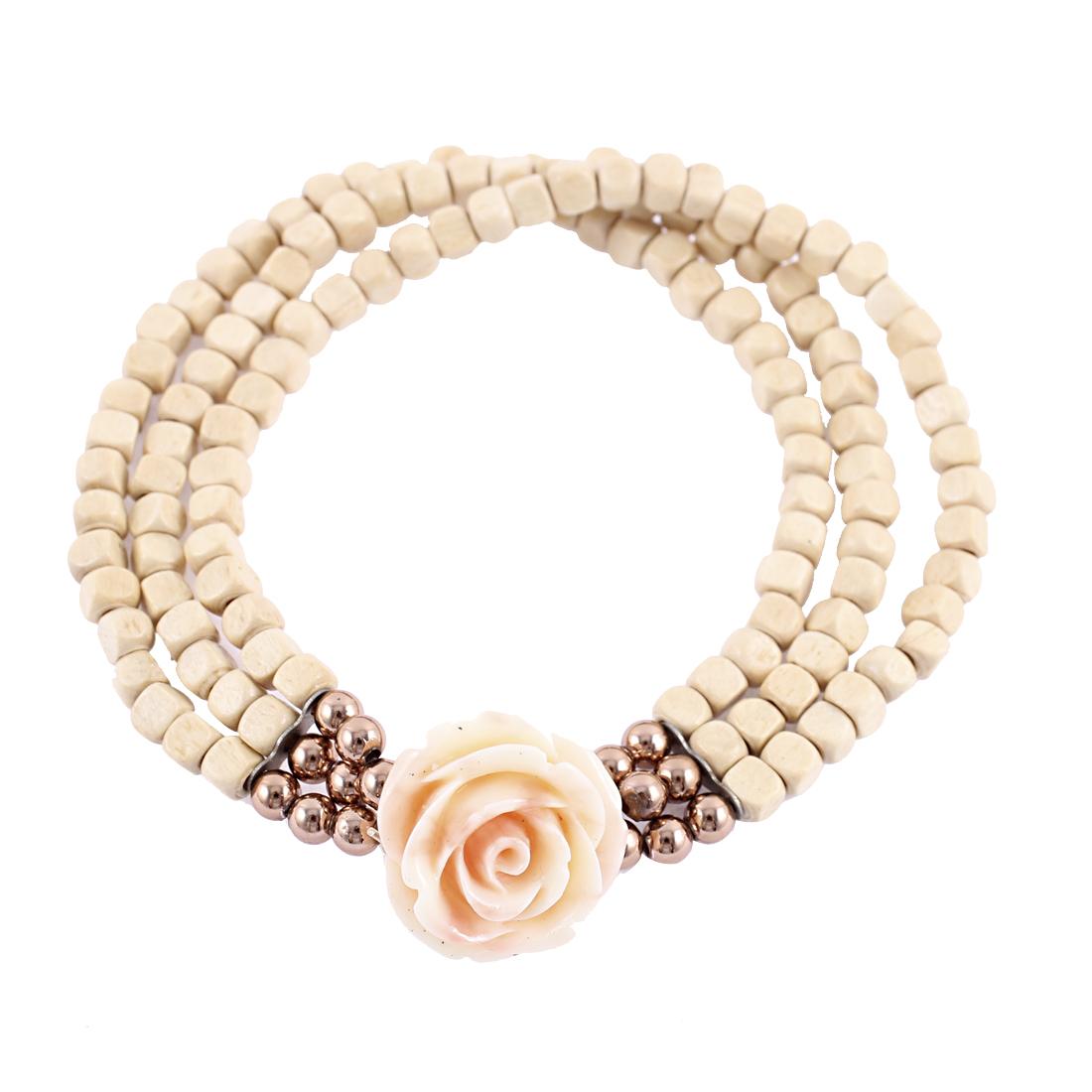 Wintersweet Pendant Beading 3 Layers Stretchy Bracelet Bangle White
