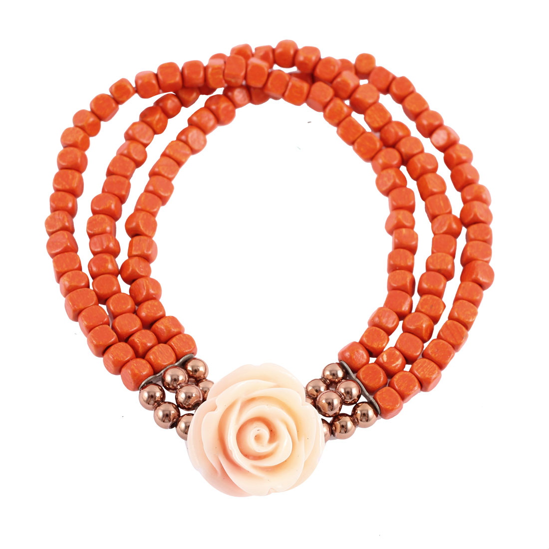 Flower Pendant Beads Detail Multilayer Elastic Wrist Bracelet Bangle Orange
