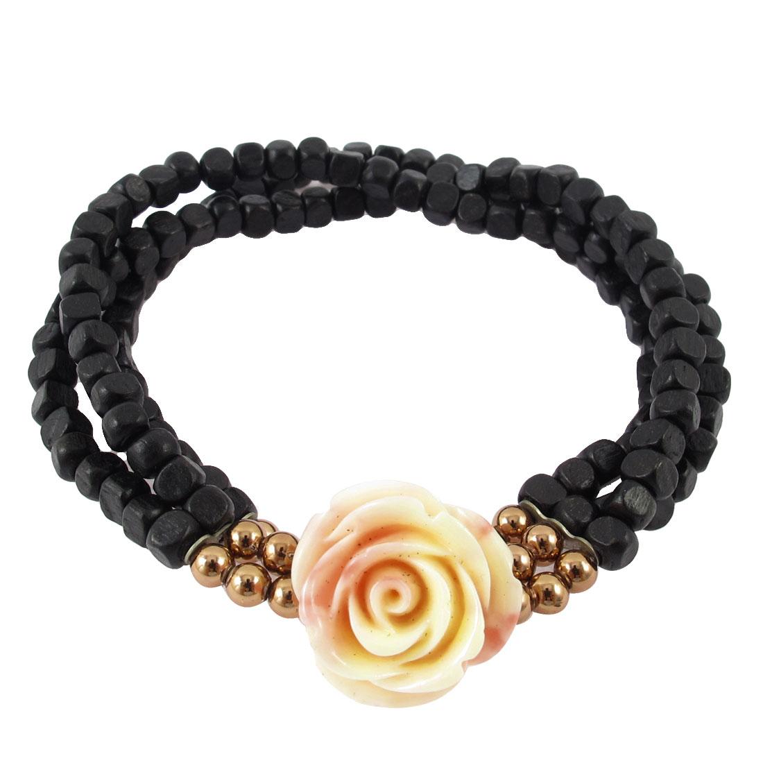 Wintersweet Pendant Square Beads Adorn 3 Layers Elastic Bracelet Gift Black