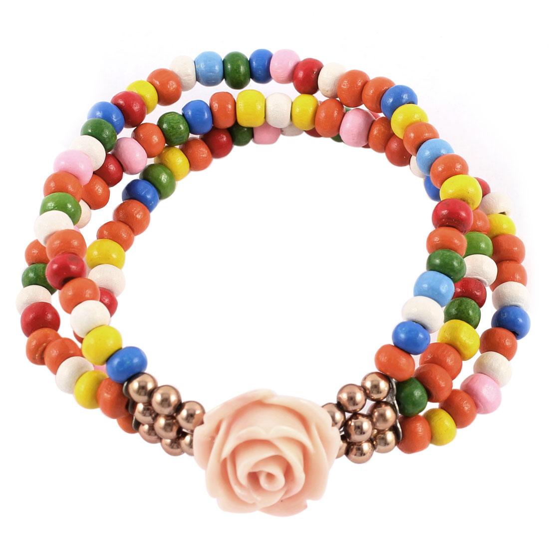 Lady Flower Pendant Beading Layered Stretchy Wrist Bracelet Bangle Multicolor