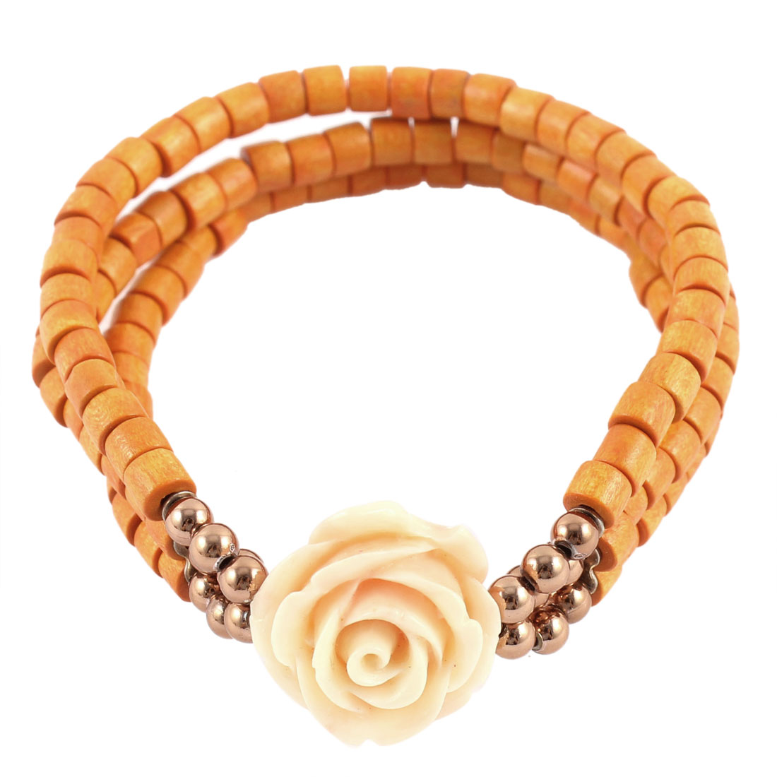 Flower Pendant 3 Layers Elastic Beaded Bracelet Jewelry Orange