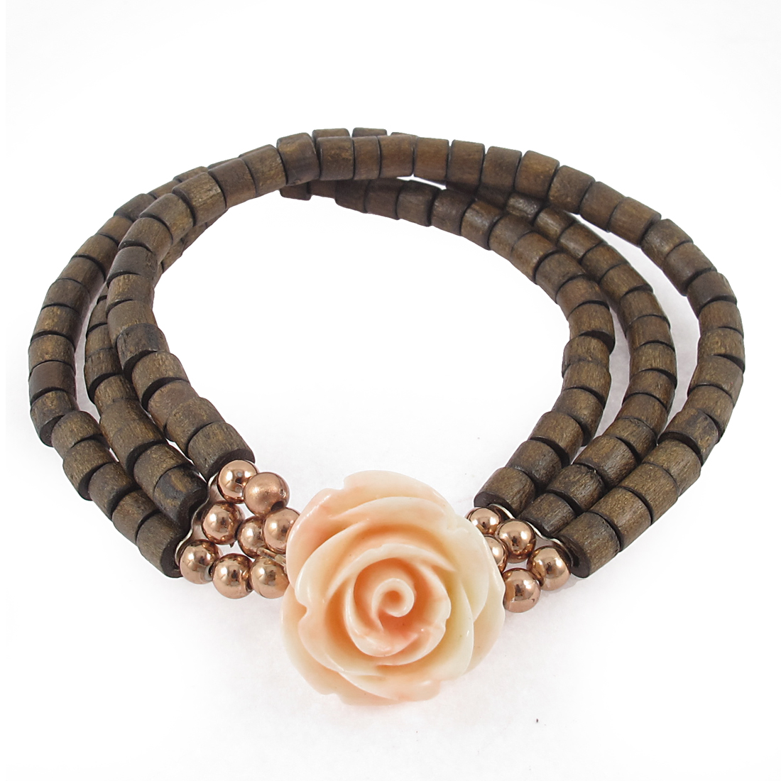 Flower Round Beads Detailing 3 Layers Elastic Bracelet Brown