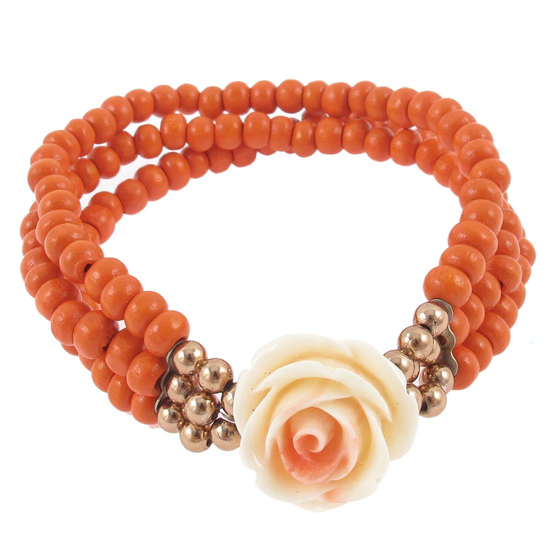 Woman Layered Stretchy Beading Flowers Linked Wrist Bracelet Gift Orange