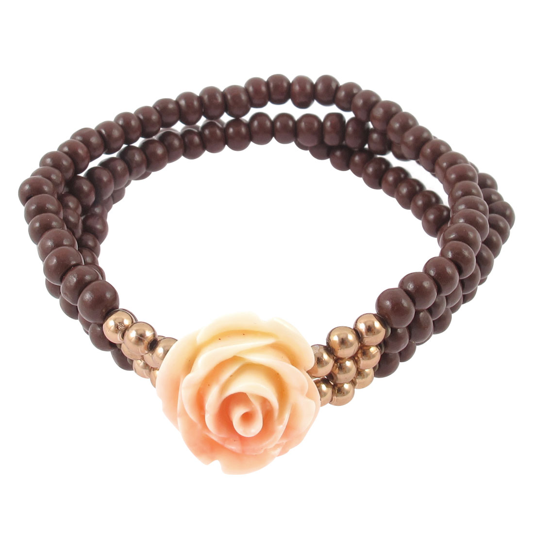 Woman Round Bead Ornament 3 Layers Stretchy Floral Linked Wrist Bracelet Brown