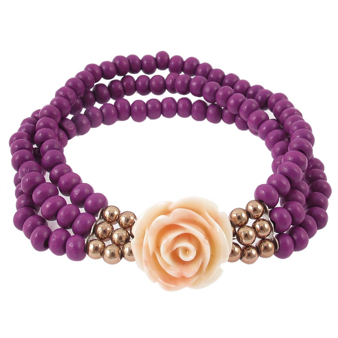 Lady Flower Pendant Round Beads Decoration Stretchy Wrist Bracelet Bangle Purple