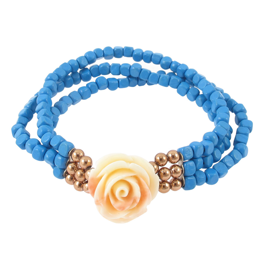 Flower Pendant Square Beads Detail 3 Layers Elastic Bracelet Jewelry Gift Blue