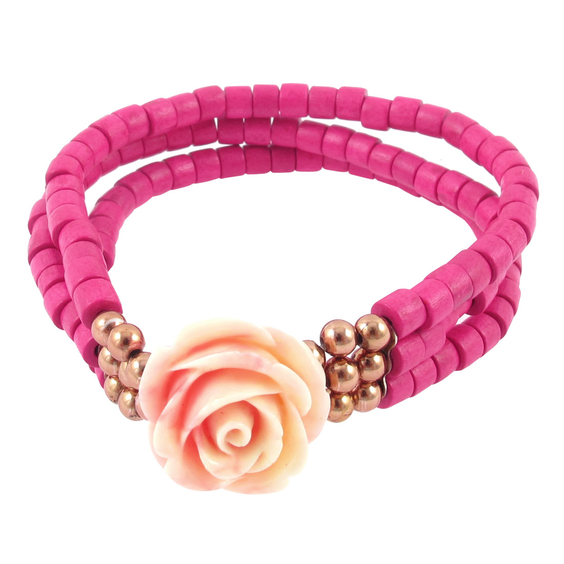 Flower Detail Stretchy Beaded Layered Bracelet Jewelry Finding Gift Fuchsia