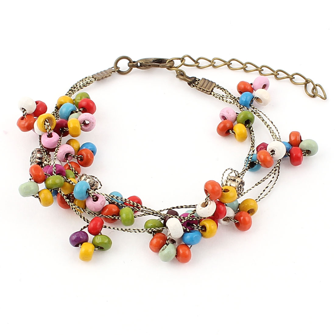 Women Lobster Clasp Beads Beaded Adjustable Wrist Chain Bangle Bracelet Multicolor