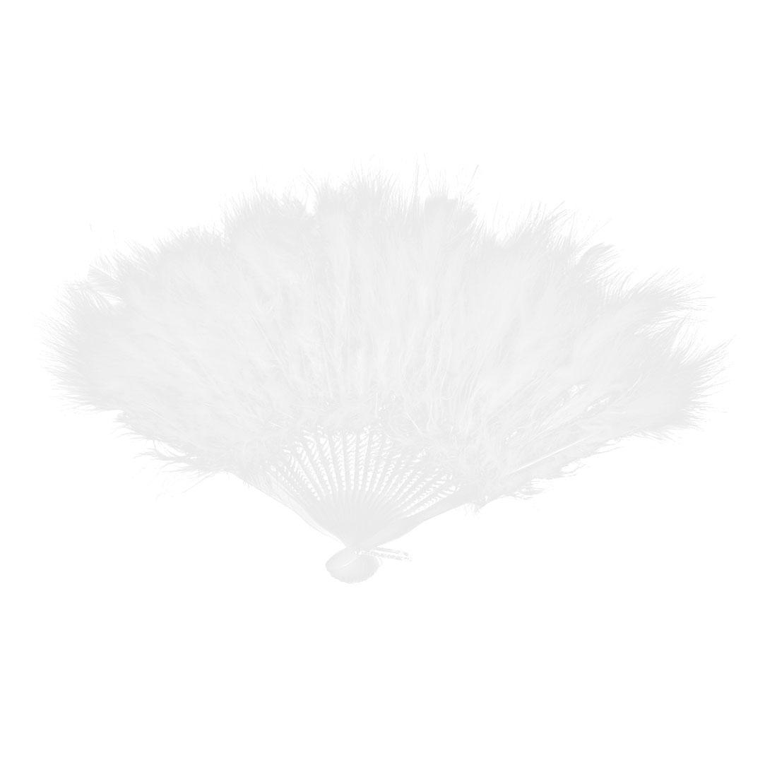 Faux Feather Folding Decoration Fancy Dress Party Dance Hand Fan White