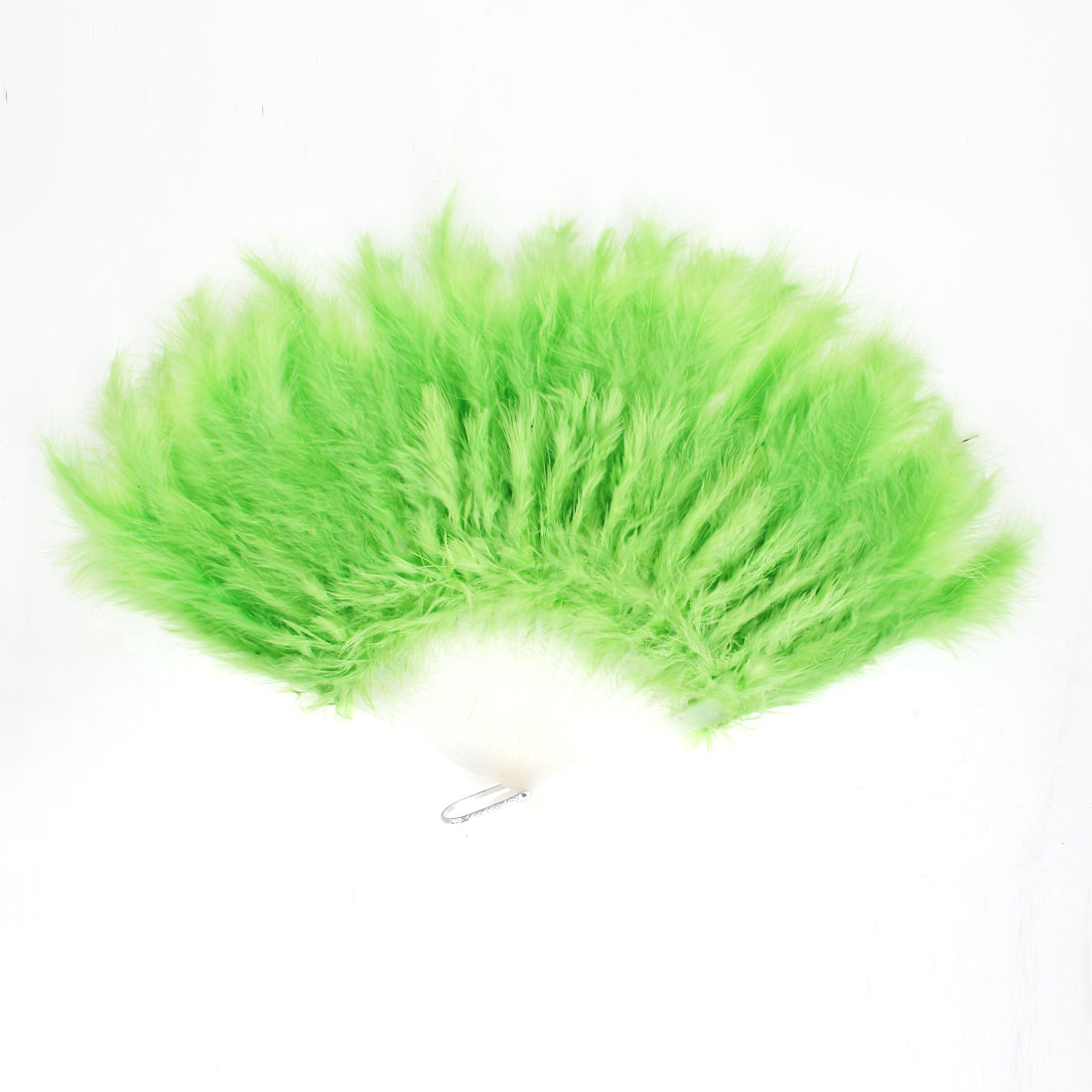 Faux Feather Folding Decoration Fancy Dress Party Dance Hand Fan Green