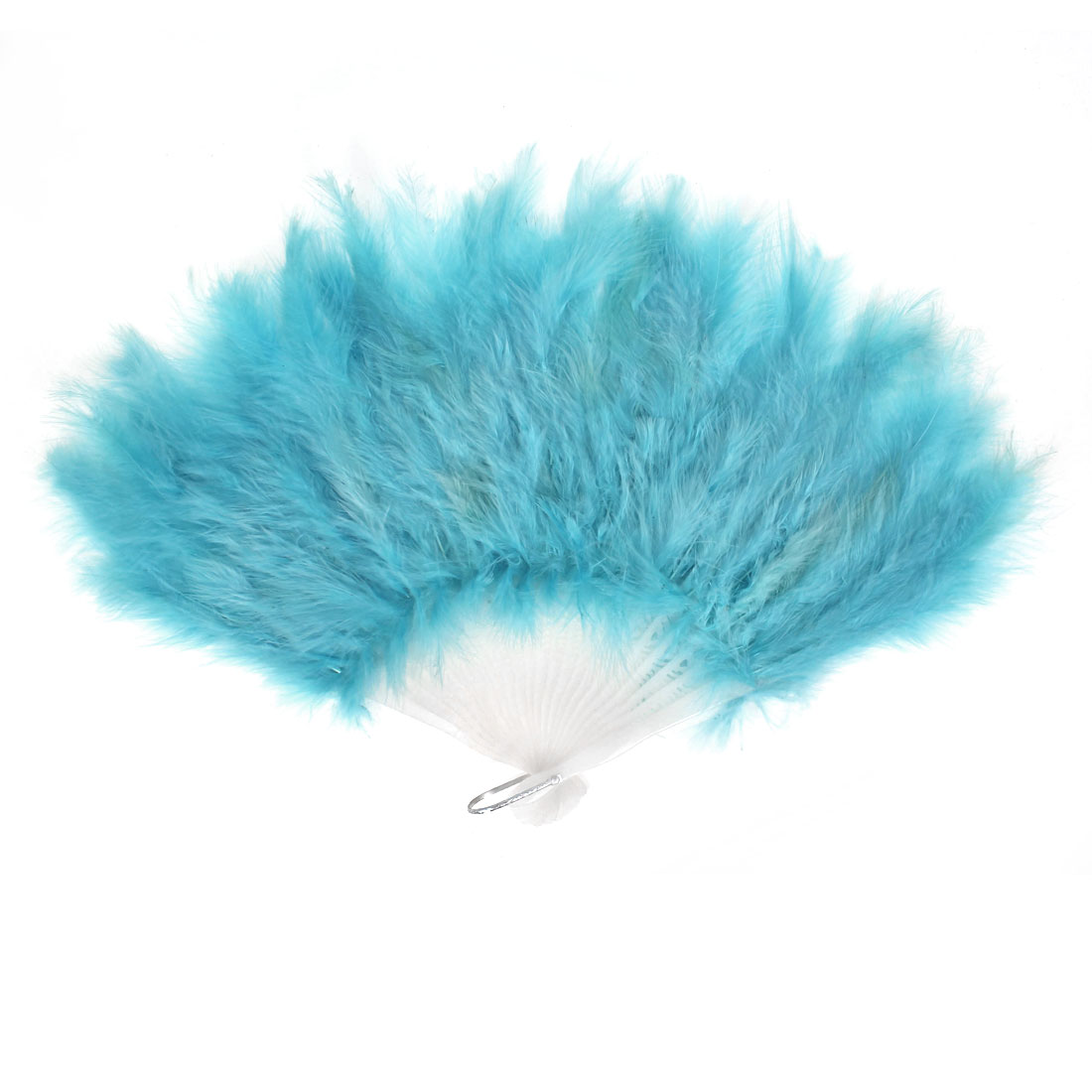 Faux Feather Folding Decoration Fancy Dress Party Dance Hand Fan Blue