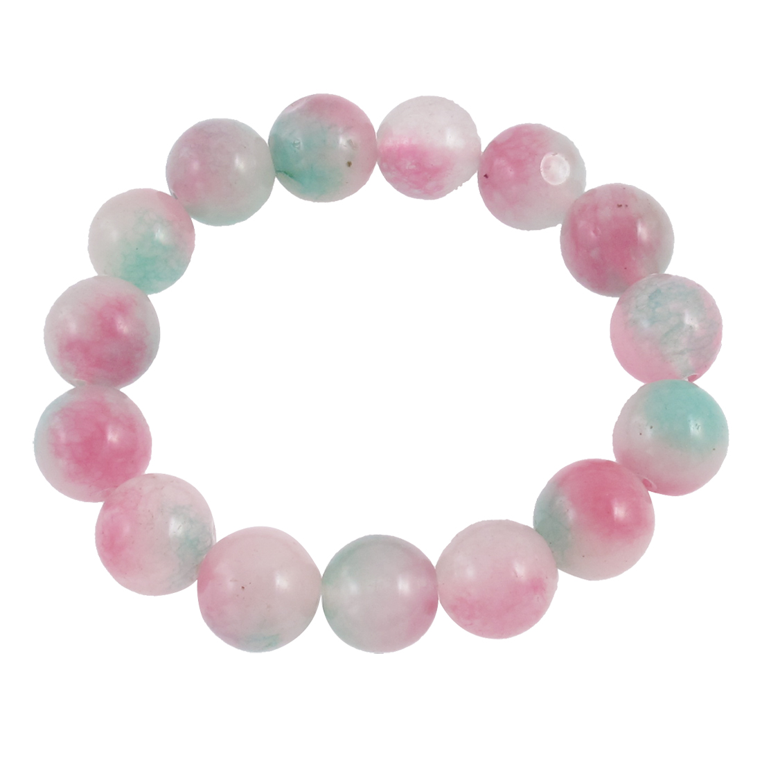 Lady Gradient Color Round Faux Jade Bead Linked Elastic Wrist Bracelet Bangle